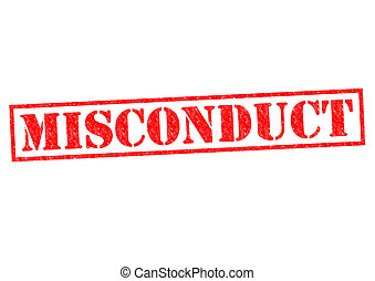 MISCONDUCT red Rubber Stamp over a white background.