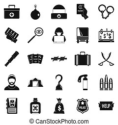 Misconduct icons set, simple style - Misconduct icons set....