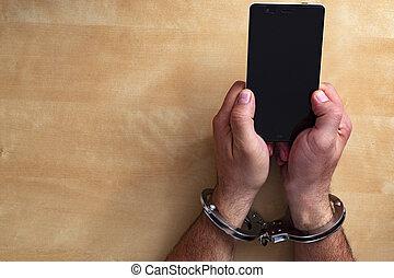 misdaad, concept, in, de, netwerk, gebruik, een, smartphone.