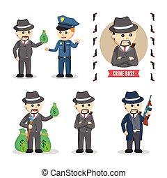 misdaad, vastgesteld ontwerp, illustratie, baas