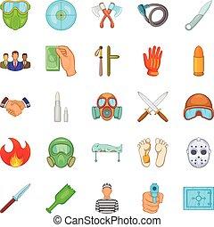 Misdeed icons set, cartoon style - Misdeed icons set....
