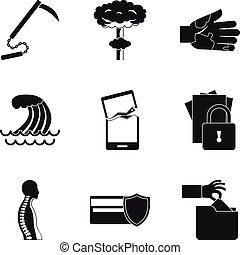 Misdeed icons set, simple style - Misdeed icons set. Simple...