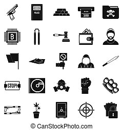 Misdemeanor icons set, simple style - Misdemeanor icons set....