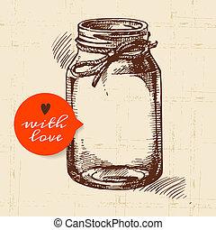 mise en conserve, pot., croquis, rustique, vendange, main, ...