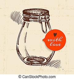 mise en conserve, pot., croquis, rustique, vendange, main, dessiné, maçon, design.