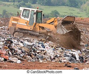 mise en décharge, bulldozer, site