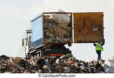 mise en décharge, déchargé, site, déchets