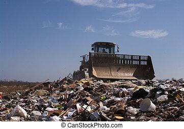mise en décharge, en mouvement, déchets ménagers