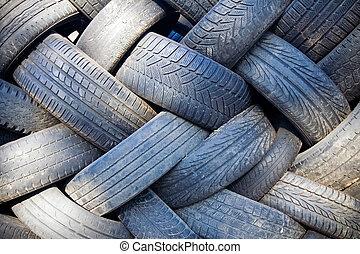mise en décharge, recyclage, pneu