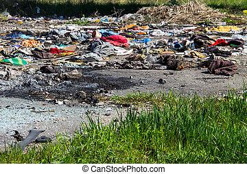 mise en décharge, tas, conjugal, déchets