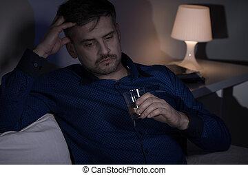 miserável, bebendo, Álcool, homem