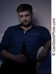 miserável, bebendo, Cerveja, homem