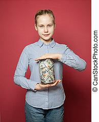 Miser kid. Teen girl with money cash