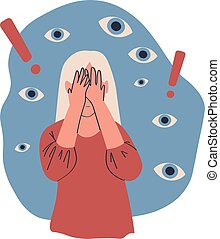 Miserable lonely young woman covering her eyes with hands associating fault, problem isolated on white vector illustration