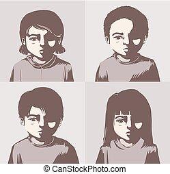 miserando, concetto, illustrazione, bambini