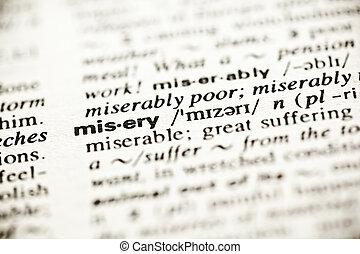 'misery', -, szótár, meghatározás, könyvcímrajz