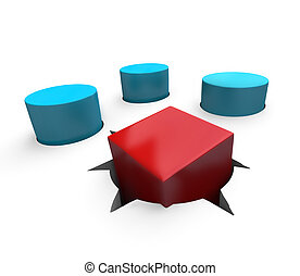 Misfit - Square Peg in Round Hole - A red cube is a poor fit...