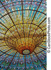 misic, techo, palacio, españa, barcelona
