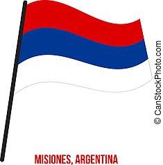 Misiones Flag Waving Vector Illustration on White Background. Flag of Argentina Provinces.