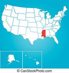 misisipí, unido, -, ilustración, estados, estado, américa