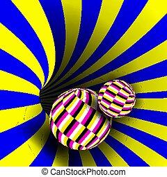 misleiding, deceptive., vector., spiraal, illustratie, kolken, draaikolk, optisch, achtergrond, illusion., geometrisch, illusie, psychedelic, art.