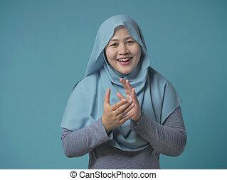 mislim, femme, mains, heureux, applaudir, asiatique