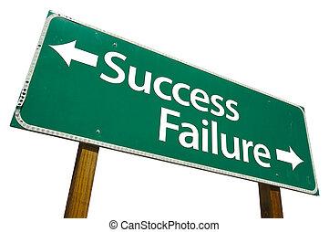 mislukking, succes, meldingsbord