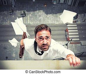 mislukking, van, een, zakenman, schuldig, om te, crisis