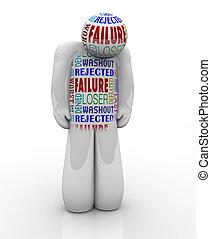 mislukking, -, verdrietige , persoon, verliezer, ontkennen,...