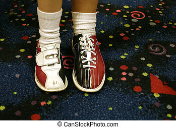 Bowling shoes.. one of each, diffrent sizes.