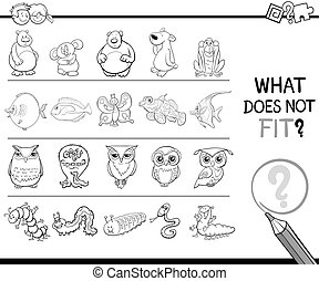 mismatched picture coloring page - Black and White Cartoon...