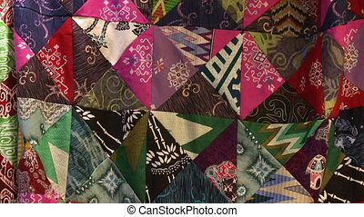 Mismatching Triangular Batik Patterns, Malaysia - Close-up...