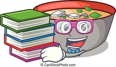 miso, étudiant, repas, soupe, livre, délicieux, dessin animé