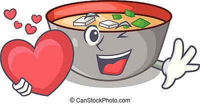 miso, coração, personagem, tigela, sopa, tabela