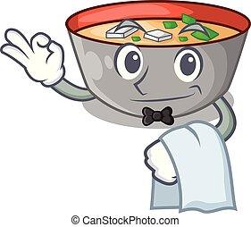 miso, garçom, personagem, tigela, sopa, tabela