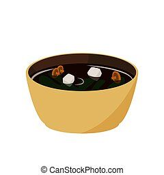 miso, illustration., japoneses, alimento., soup., asiático, ...