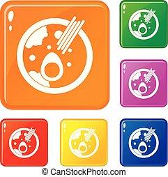 miso, jogo, ícones, cor, sopa, vetorial