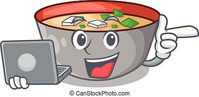 miso, laptop, tigela, japoneses, sopa, caricatura