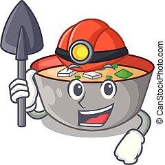 miso, mineiro, tigela, sopa, tabela, personagem