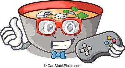 miso, personagem, tigela, sopa, gamer, tabela