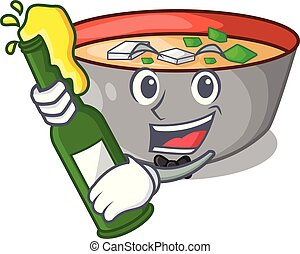 miso, refeição, sopa, cerveja, gostosa, caricatura