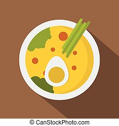 Miso soup icon, flat style