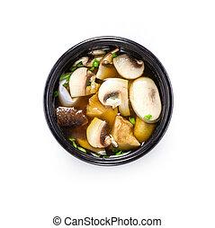 miso soupe, champignons, au-dessus, vue