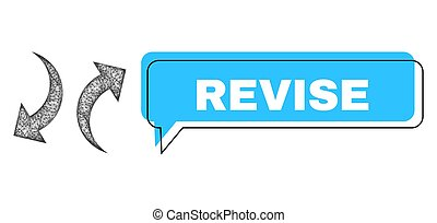 Conversation Revise blue cloud frame and wire frame exchange arrows. Frame and colored area are shifted to Revise caption, which is located inside blue colored speech balloon.