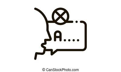 Mispronunciation Icon Animation. black Mispronunciation animated icon on white background