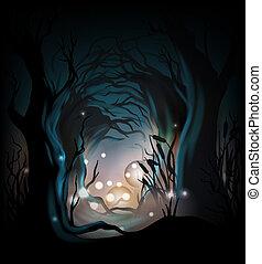 misrious, skog, bakgrund