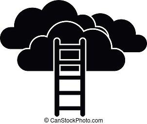 missão, ícone, estilo, escada, nuvem, simples