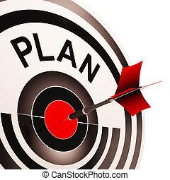 missões, alvo, planificação, metas, plano, mostra