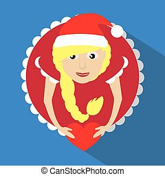 miss claus santa with snowflakes heart in the hands of the round button to click on a blue background vector