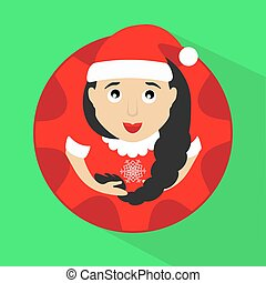 miss claus santa with snowflakes round button to click on a green background vector